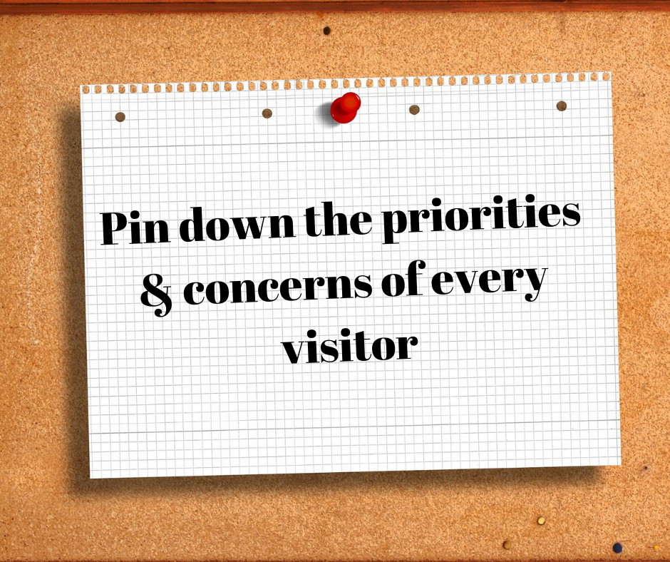 Pin-down priorities and concerns of every visitor